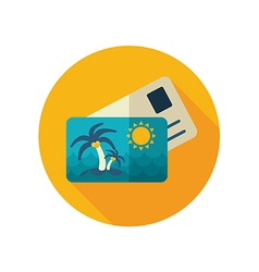 Card with palm flat icon Summer Vacation vector image