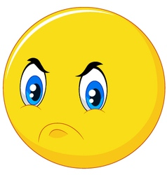 Cartoon emoticon with angry face vector image