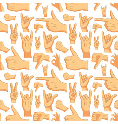 common cartoon hand signs on white seamless vector image vector image