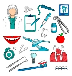Female dentist with dentistry icons sketches vector image vector image