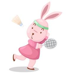 girl rabbit playing badminton vector image vector image