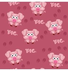 Seamless pattern square cartoon pig vector image