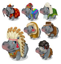set of seven hippos in different national costumes vector image