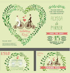 Wedding invitationgreen branches bridegroom vector