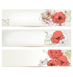 Floral headers Cute flowers banner set vector image vector image
