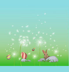 happy easter eggs spring background with white vector image