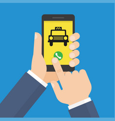human hand holds smartphone with mobile app taxi vector image vector image