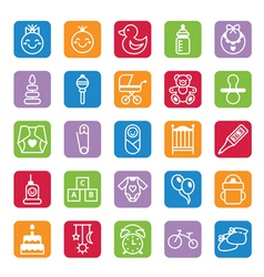 Set of flat color icons baby and accessories vector image vector image