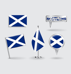 Set of scottish pin icon and map pointer flags vector