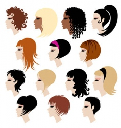 set of trendy hair styling for woman vector image vector image