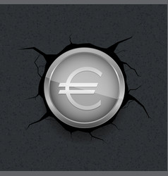 silver euro on cracked background vector image vector image