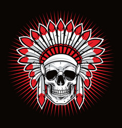 skull of indian native american warrior mascot vector image