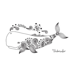 Tattoo Happy Whale vector image