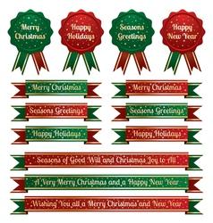 christmas ribbons and emblems vector image vector image