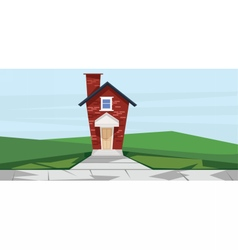 flat cartoon style red two floor house vector image