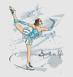 scetch figure skater color vector image