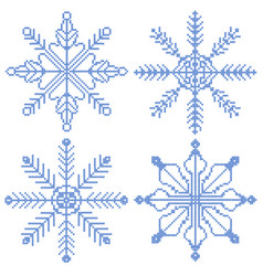 4 cross stitch snowflakes vector