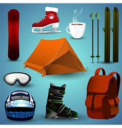 a set sports equipment for winter sports vector image