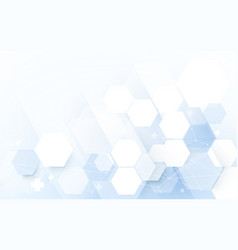 Abstract blue geometric hexagon with science vector