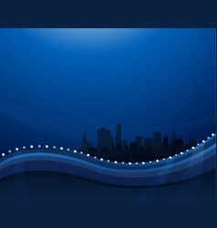 abstract blue waving background with cityscape vector image