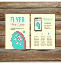 Abstract Brochure Flyer design Human head with vector image vector image
