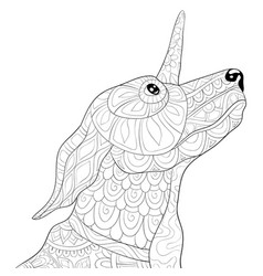 Adult coloring bookpage a cute uni-dog with vector