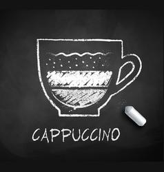 Black and white sketch cappuccino coffee vector