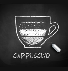 Black and white sketch of cappuccino coffee vector