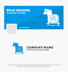 blue business logo template for cybercrime horse vector image