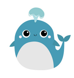Blue whale with water fountain toy icon sea ocean vector