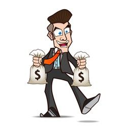 Businessman glad of money cartoon vector