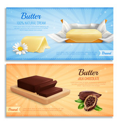 Butter advertising realistic banners vector