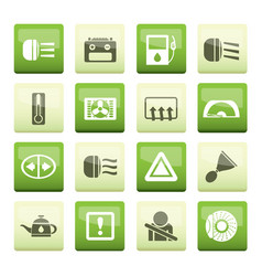 Car dashboard icons over color background vector