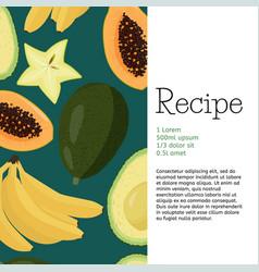Carambola papaya bananas and avocado fruits vector