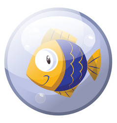 cartoon character of a blue and yellow fish vector image