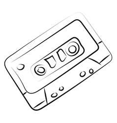 cassette sketch on white background vector image
