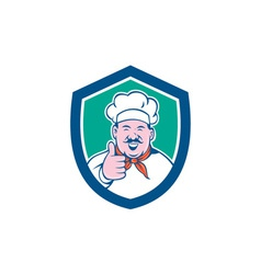 Chef Cook Happy Thumbs Up Shield Cartoon vector