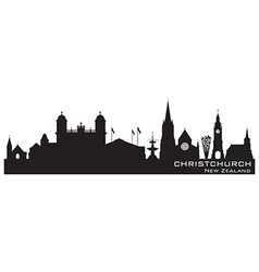 Christchurch New Zealand skyline Detailed silhouet vector image