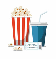 cinema concept with popcorndrink and tickets vector image