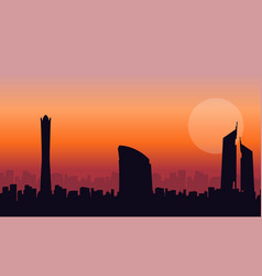 Collection of dubai building scenery silhouettes vector