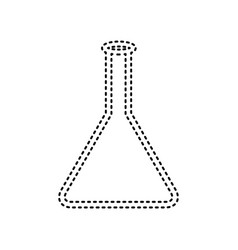 conical flask sign black dashed icon on vector image
