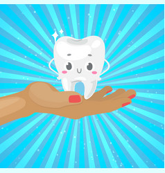 Cute healthy white tooth on hand with dental vector