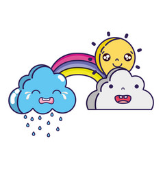 Cute natural weather clouds with sun and rainbow vector