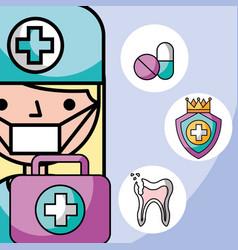 Dentist girl first aid kit broken tooth medicine vector