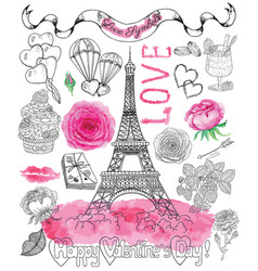 Design set with the eiffel tower and love symbols vector