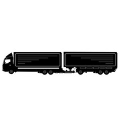Detailed silhouette of truck with a trailer vector