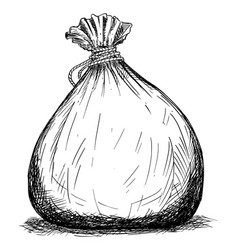 Drawing bag or pouch possibly full money vector
