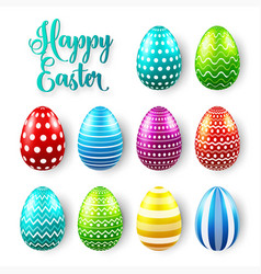 easter eggs colored set spring holidays in april vector image