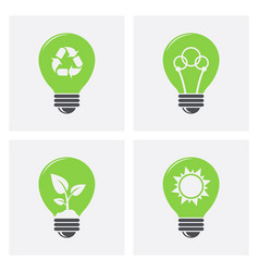 ecology light bulb icons green eco energy concept vector image