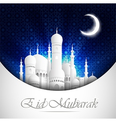 Eid Mubarak background with mosque view night vector image